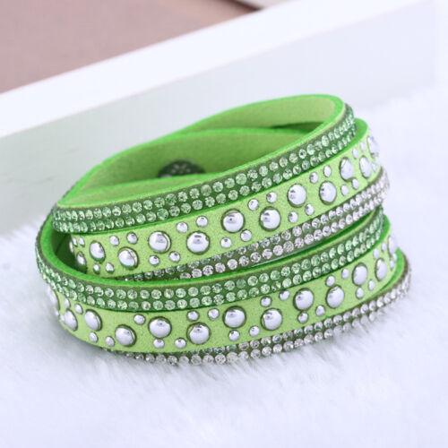 Faux Leather Wrap Bracelet Bangle Wristband Cuff Rhinestone Crystal Jewellery UK