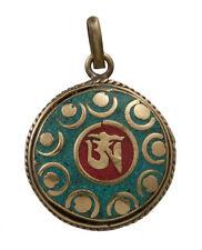 PENDENTIF TIBETAIN  OM AUM LAITON CORAIL & TURQUOISE BIJOUX TIBET NEPAL L31 1145