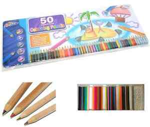 Tin 50 Artist Colouring Pencils Sketching,metallic,scented,rainbow Childrens Set