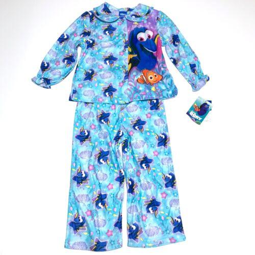 Disney Pixar Girls Finding Dory Flannel Pajamas Size 3T Nemo 2-piece set NWT