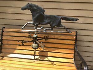 Vintage-1900-s-Copper-Weathervane-Racing-Horse-Overall-Dimensions-45-x-32