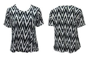 New-Women-039-s-Black-White-Zig-Zag-Stretch-Silver-Sequin-Top-Short-Sleeve-Plus-Size