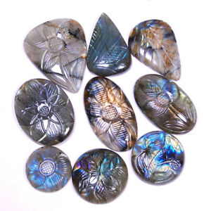 9-Pcs-Natural-Labradorite-Top-Quality-Flashy-Hand-Carved-Gems-28mm-51mm