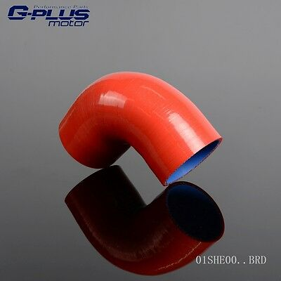 """2.5"""" To 2.5"""" 64MM 90 Degree Hose Turbo  Silicone Elbow Coupler Pipe Red"""