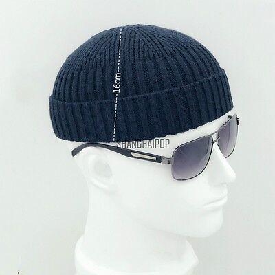 Men Knit Hat Beanie Skullcap Sailor Cap Cuff Brimless Retro Fashion Black Casual