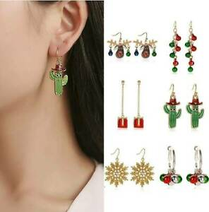 Women-Crystal-Snowflake-Elk-Candy-Ear-Stud-Hook-Earrings-Jewelry-Christmas-Gift