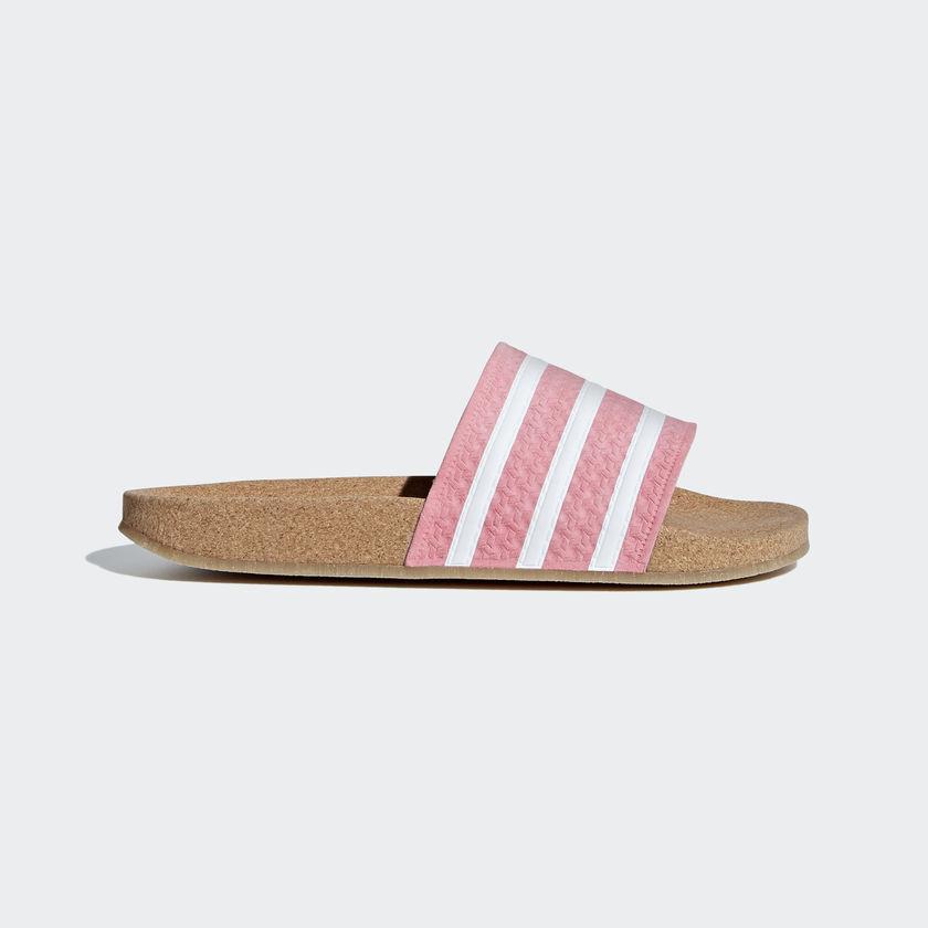 dc5a77cb37235b Adidas Originals Women Adilette Cork Slides Pink Lifestyle Sandal New  BC0222.