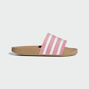 Adidas-Originals-Women-Adilette-Cork-Slides-Pink-Lifestyle-Sandal-New-BC0222