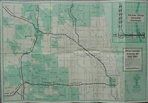 Tollway Illinois Map.1960 Illinois Tollway Map Chicago Area Ebay