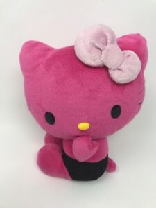 Sanrio-Hello-Kitty-2010-Pink-and-Black-Blowing-Kisses-Plush-Stuffed-Animal-10-034
