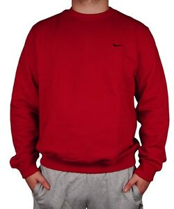 Details about Nike Red Men's Classic Crew Neck Sweater Fleece 341570-648  size XL