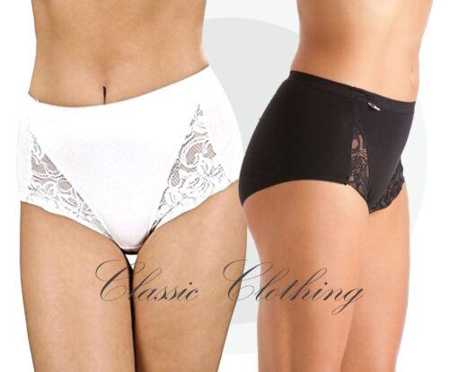 La Marquise 3 Pack Ladies Lace Maxi Briefs Black or White Woman UK Size 10-22