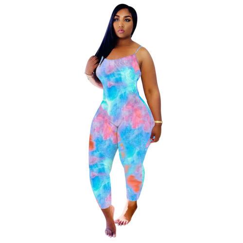 Stylish New Women Spaghetti Strap Lowcut Multicolor Tie Dye Print Slim Jumpsuit