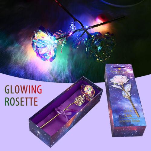 Galaxy Plated Artificial Rose Flower Love Base LED Light Festival Lover Gift Hot