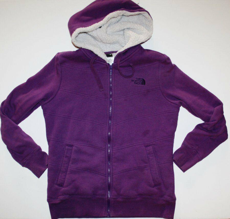 THE NORTH FACE Zip Up Hoodie Women Size Medium M Sweatshirt Sherpa Lined Purple
