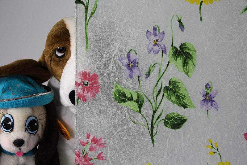 Frosted ColGoldt Flowers Static Cling Window Film, 36  Wide x 9 ft. Roll