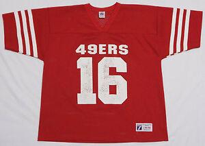 16e67603e Vtg 80's JOE MONTANA #16 Jersey Shirt LARGE Red SAN FRANCISCO 49ERS ...