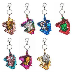 Wende Pailletten Taschenanhänger Schlüssel Anhänger Motiv Einhorn Viele Farben