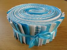JELLY ROLL STRIPS 100% COTTON PATCHWORK FABRIC TURQUOISE / WHITE 25 PIECES
