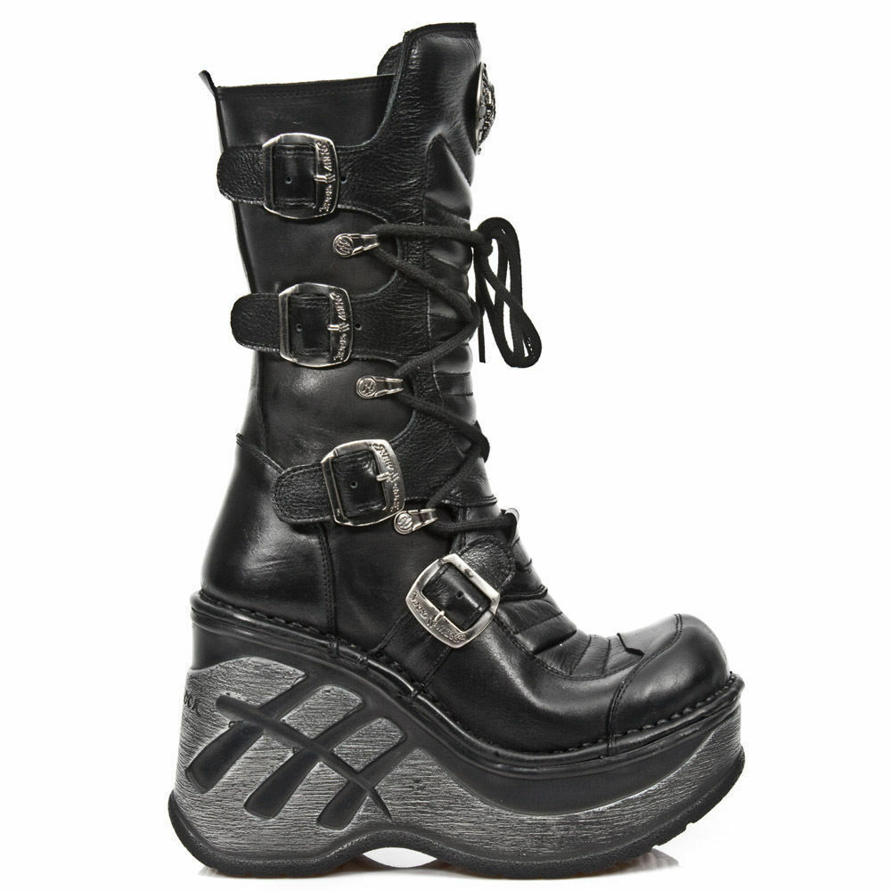 Grandes zapatos con descuento NewRock NEW ROCK SP9873-S1 BLACK LADIES TRAIL GOTHIC ROCK PUNK LEATHER BOOTS