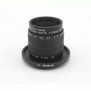 Fujian-35mm-F1-7-CCTV-TV-Movie-lens-C-Mount-to-Canon-EOS-M-EF-M-Mirrorless-Black