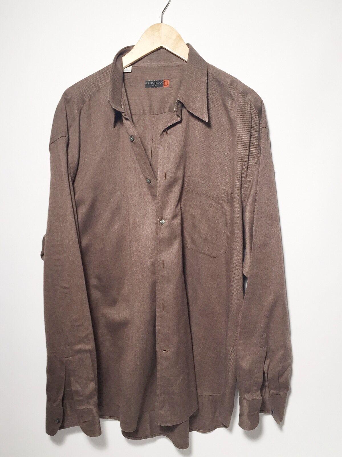 XL Corneliani Brown Cotton Men's Button Down Shirt