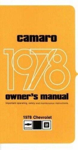 CAMARO 1978 Owner/'s Manual 78