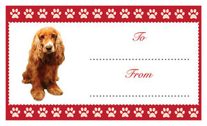 cocker spaniel dog christmas birthday gift labels sticker dog animal