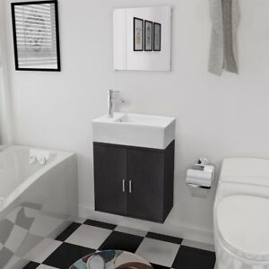 vidaXL 3tlg. Badmöbelset Waschbecken Spiegel Waschtisch ... | {Badezimmer waschtisch mit unterschrank 53}