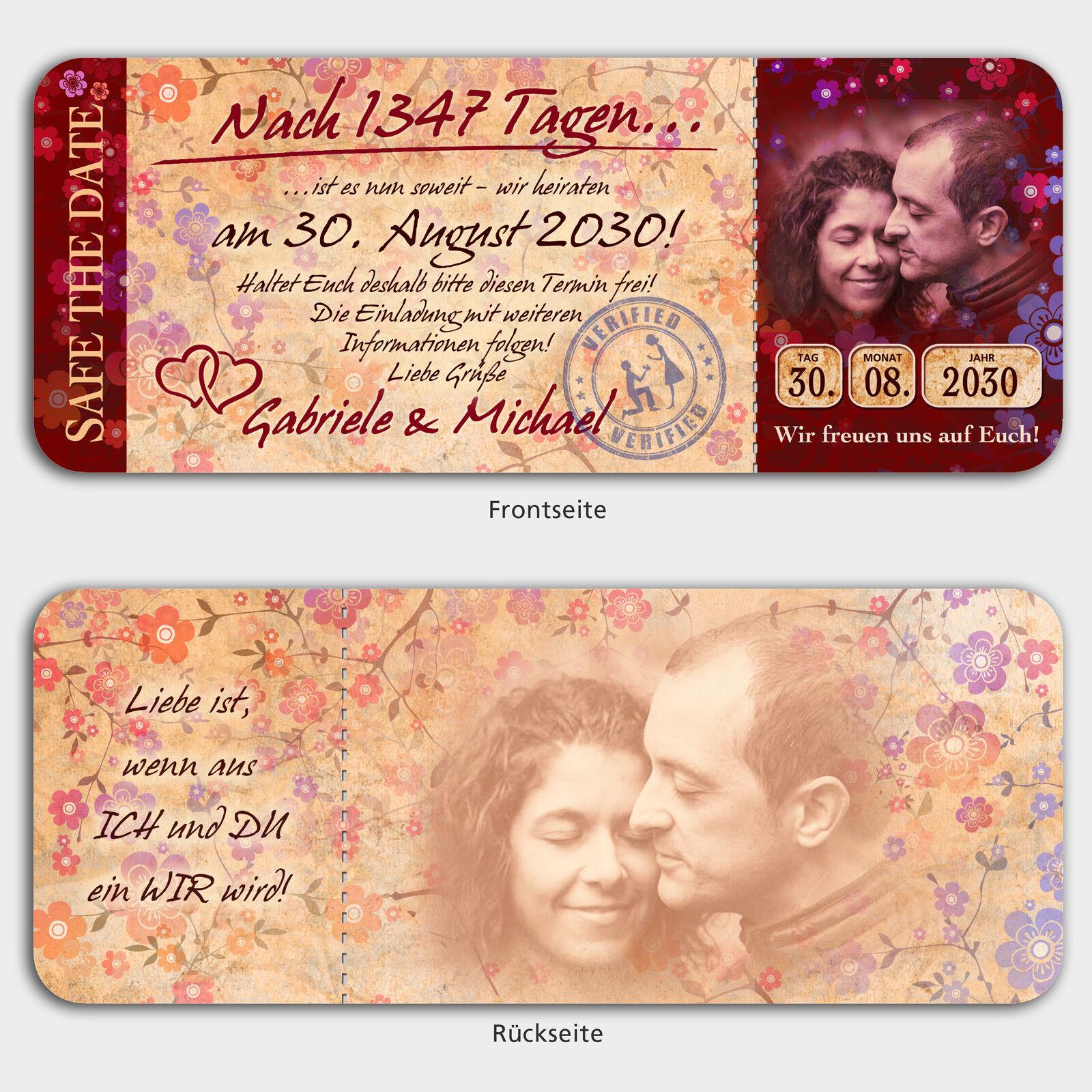 Save the Date Karten Hochzeit im Stiel einer Eintrittskarte, mit Bild     Erste Qualität    Elegantes und robustes Menü