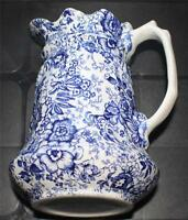 "Vintage JAMES KENT England Blue OLD FOLEY 18th Century Chintz 7""h Pitchers"
