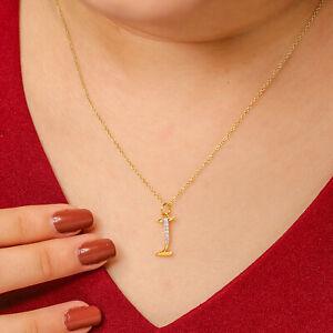 14K yellow gold initial I Diamond Pave pendant charm Necklace Valentine Jewelry