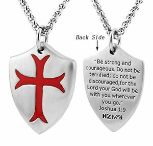 New knights templar cross joshua 19 shield stainless steel pendant image is loading new knights templar cross joshua 1 9 shield aloadofball Image collections