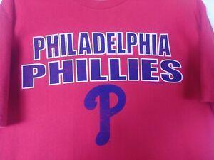 MLB-Philadelphia-Phillies-Mens-T-Shirt-Size-L-Red-Short-Sleeve-Crew-Neck-Cotton