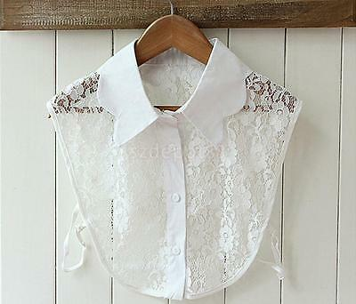 White Lace Half Fake Shirt Blouses Collar For Women Fashion Accs Decoration
