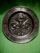 Antique HAND HAMMERED PEWTER plate w/ CROWN JL or (T) maker's mark w/urn flowers