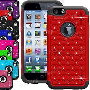 Bling-Diamant-Hybride-Silicone-Rigide-Anti-choc-etui-pour-Apple-iPhone-6-5S