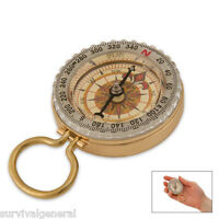 Brass Compass Glow In Dark Gift Vintage Antique Old Style Pocket Camping Outdoor