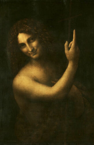 Vintage Antique Picture Leonardo da Vinci Framed Print Saint John the Baptist