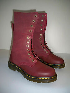 popular stores arriving famous brand Details about NEW Dr. Martens Women's Hazil boots US SZ 9 Virginia Cherry  Red + Darken Suede