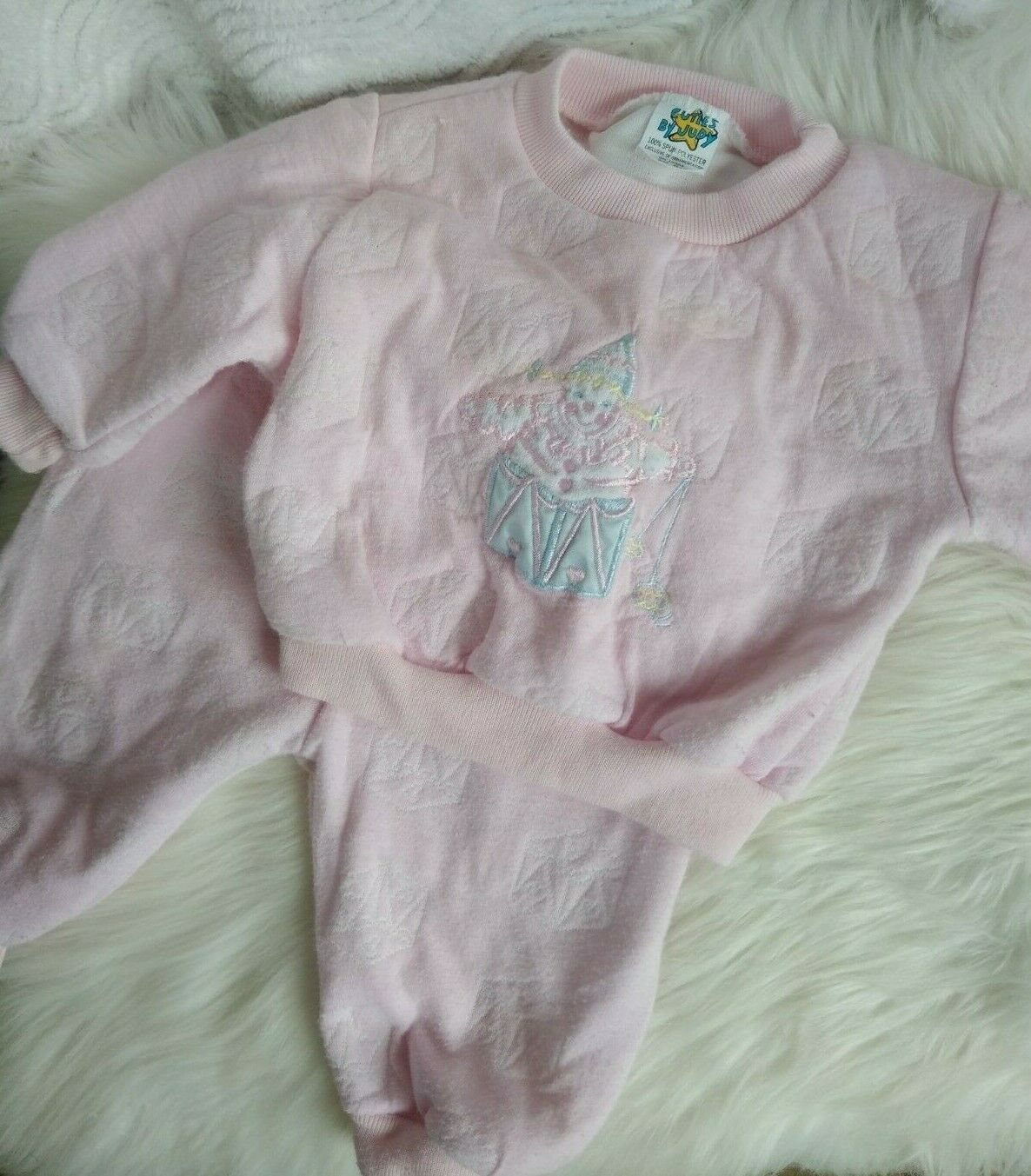 Vtg Cuties by Judy 6-9 Months Baby Clothes Pink Clown Kawaii Pastel Fairy Kei