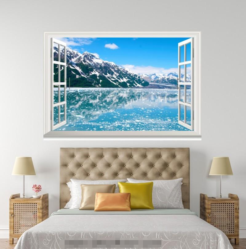 3D Lake Mountain 909 Open Windows WallPaper Murals Wall Print Decal Deco AJ WALL