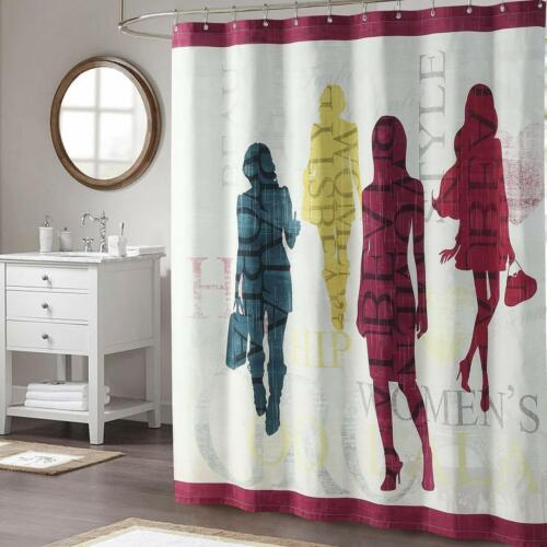 DS BATH  Pink and Black Polyester Waterproof Fabric Printed Shower Curtain