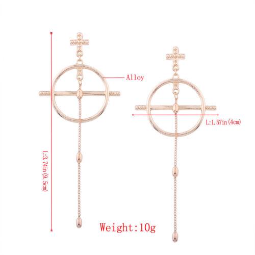 Earrings Long Silver Chandelier Circle cross Fine Metal Retro XX23