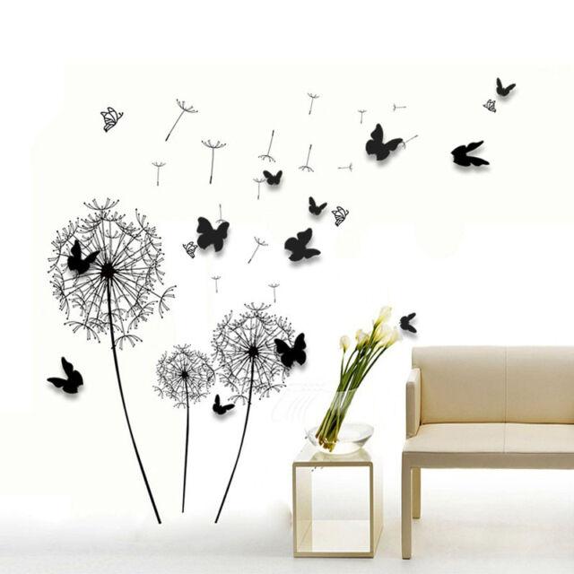 Wall Sticker Paper Art Decoration Dandelion 3D Butterfly Family Living Room