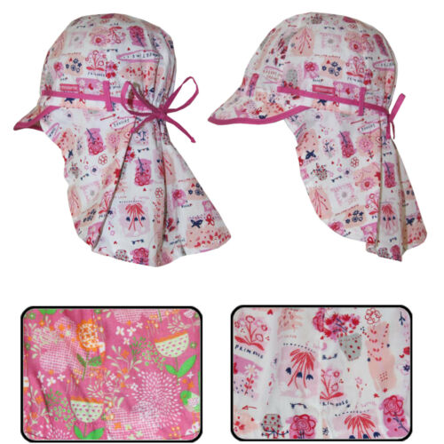 Kinder Sonnenhut mit Nackenschutz Band Made in Germany rosa  Maximo Sommer