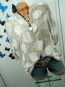 Damen Shirt Bluse Tunika Glitzer Batik Fledermaus 42 44 46 Italy