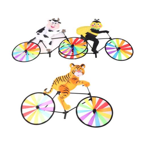 3D Tier auf Fahrrad Windmühle Wind Spinner Whirligig Garten Rasen Hof Dekor^