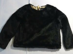 Unrealfur Furry Fur Top Black Zip Soft Back Size Small Ladies TrSgxT