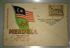 @ Malaysia 1957 Merdeka Malaya Tunku Abdul Rahman stamp FDC IPOH Chop
